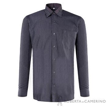 【ROBERTA諾貝達】進口素材 台灣製 嚴選穿搭 品味條紋長袖襯衫 黑色 38-43