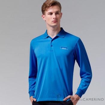 【ROBERTA諾貝達】台灣製 吸汗速乾 時尚休閒長袖POLO棉衫(藍色)