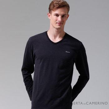 【ROBERTA諾貝達】台灣製 柔軟保暖 品味條紋長袖POLO棉衫(藍黑)
