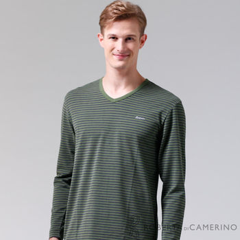 【ROBERTA諾貝達】台灣製 柔軟保暖 簡約條紋長袖POLO棉衫(綠黑)