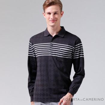 【ROBERTA諾貝達】台灣製 輕柔舒適 保溫紗長袖POLO棉衫(黑色)