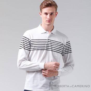 【ROBERTA諾貝達】台灣製 輕柔舒適 保溫紗長袖POLO棉衫(白色)