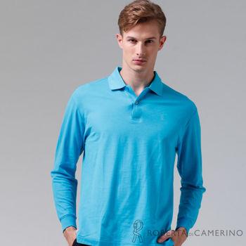 【ROBERTA諾貝達】台灣製 吸溼排汗 百搭長袖POLO棉衫(水藍)