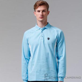 【ROBERTA諾貝達】台灣製 環保素材 休閒百搭長袖POLO棉衫(淺藍)