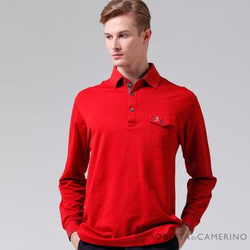 【ROBERTA諾貝達】台灣製  嚴選穿搭 時尚休閒長袖POLO棉衫 紅色