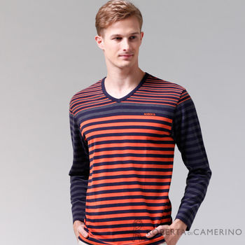 【ROBERTA諾貝達】台灣製 柔軟保暖 條紋風情長袖POLO棉衫 橘黑