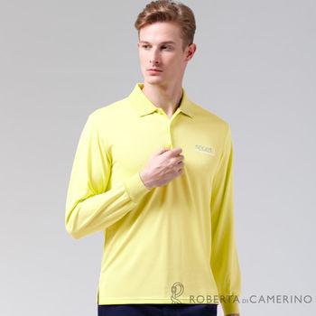【ROBERTA諾貝達】台灣製 吸汗速乾 時尚休閒長袖POLO棉衫 黃色