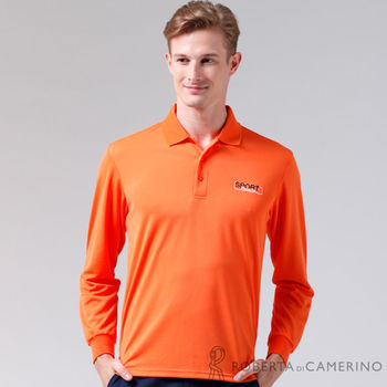 【ROBERTA諾貝達】台灣製 吸汗速乾 時尚休閒長袖POLO棉衫 橘色
