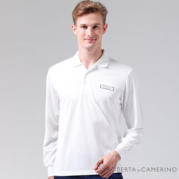 【ROBERTA諾貝達】台灣製 吸汗速乾 長袖POLO棉衫POLO棉衫 白色