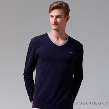 【ROBERTA諾貝達】台灣製 柔軟保暖 時尚百搭長袖POLO棉衫 深藍