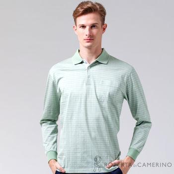 【ROBERTA諾貝達】台灣製 純棉 方格品味長袖POLO棉衫 淺綠