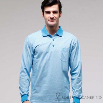 【ROBERTA諾貝達】台灣製 修身版 口袋款長袖POLO棉衫 藍色