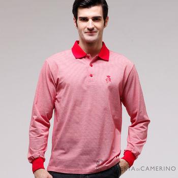 【ROBERTA諾貝達】台灣製 修身版 長袖POLO棉衫 紅色