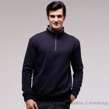 【ROBERTA諾貝達】台灣製 吸濕保暖 下襬束口長袖POLO棉衫 深藍