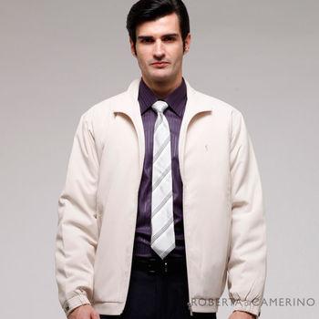 【ROBERTA諾貝達】台灣製 休閒百搭 內裡舖棉 夾克外套 米白