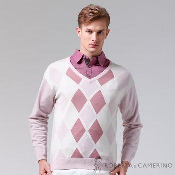 【ROBERTA諾貝達】進口素材 台灣製 V領親膚觸感 純美麗諾羊毛衣 粉紅
