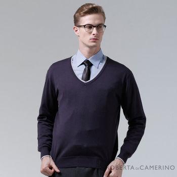 【ROBERTA諾貝達】進口素材 台灣製 V領獨特魅力 純羊毛衣 深紫