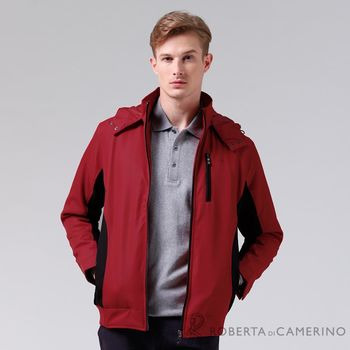 【ROBERTA諾貝達】可拆式帽 內裡舖棉 防潑水夾克外套 紅黑