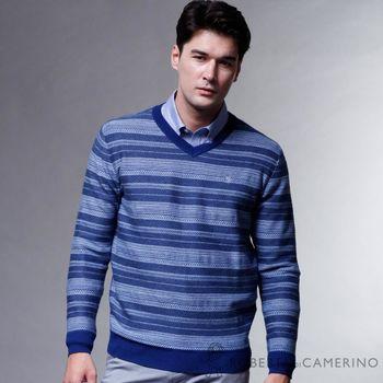 【ROBERTA諾貝達】時尚型男款 100%純美麗諾羊毛衣 藍色