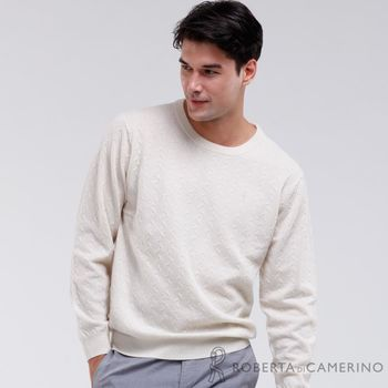 【ROBERTA諾貝達】時尚型男款 100%純美麗諾羊毛衣 米色