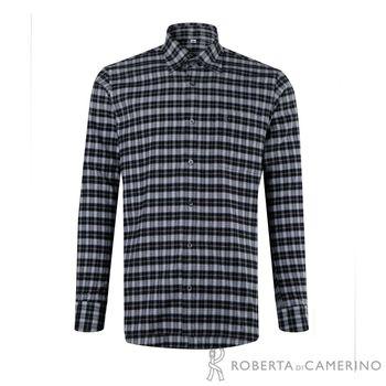 【ROBERTA諾貝達】台灣製 防靜電 純棉方格品味長袖厚襯衫 黑白