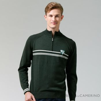 【ROBERTA諾貝達】進口素材 台灣製 拉鍊高領柔軟細膩 純美麗諾羊毛衣 深綠