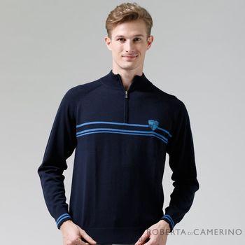 【ROBERTA諾貝達】進口素材 台灣製 拉鍊高領柔軟細膩 純美麗諾羊毛衣 深藍