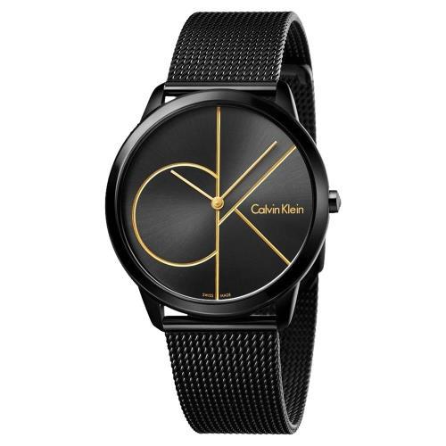 Calvin Klein CK Minimal 經典大LOGO黑金腕錶 K3M214X1