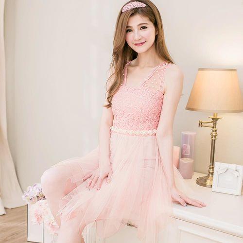 【lingling】布蕾絲珠紗背心小禮服洋裝(邂逅粉)A2097-01