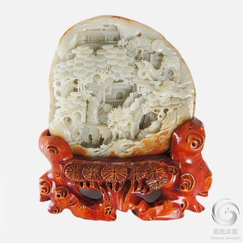 林文苑-天然和闐玉山子雕擺件 極具珍藏