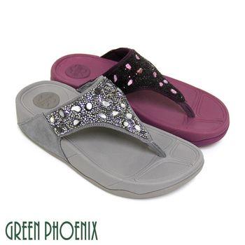 【GREEN PHOENIX】寬版T字燙碎鑽反絨布厚底夾腳拖鞋-紫色、灰色