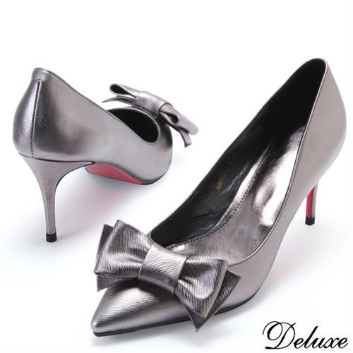 【Deluxe】全真皮法式時尚蝴蝶結尖頭跟鞋(灰)