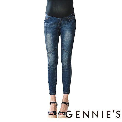 Gennies奇妮-激瘦魅力刷色美腿牛仔長褲(T4913-藍)