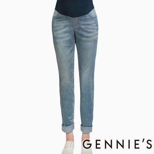 Gennies奇妮-絲柔立體修長顯瘦孕婦牛仔褲(T4B26-牛仔藍)
