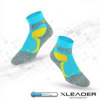 LEADER COOLMAX透氣排汗 戶外健行 中低筒機能 襪 製 藍色