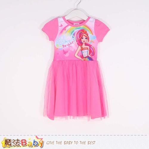 魔法Baby 女童洋裝 芭比授權正版短袖蕾絲連身裙~k50388