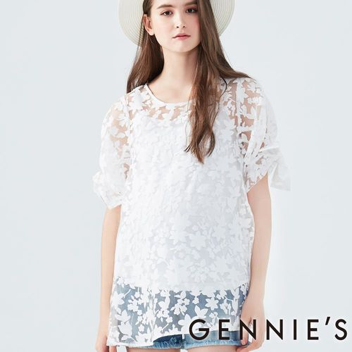 Gennies專櫃-春之花漾透膚上衣-(T3D28-白)