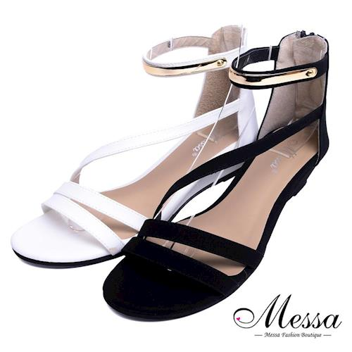 【Messa米莎專櫃女鞋】MIT 優雅時尚金色飾帶繫踝楔形涼鞋-二色-型(網)