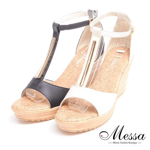 【Messa米莎專櫃女鞋】MIT 金屬飾條T字繞踝楔型涼鞋-二色-型(網)