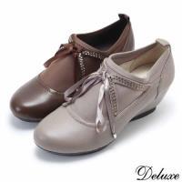 ~Deluxe~全真皮學院風水鑽蝴蝶結楔型休閒鞋 #40 咖~灰 #41 #45 7118