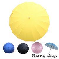 ~Rainy days~16傘骨無敵抗風防潑銀膠手開直傘 ^#45 黃色