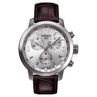 TISSOT PRC 200 競速三眼計時皮帶腕錶 銀x咖啡 42mm T05541716