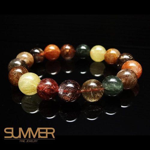 【SUMMER寶石】天然彩色髮晶手珠《 45g 》(tt-30)