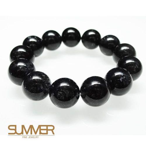 【SUMMER寶石】天然黑髮晶手珠《 95g 》(tt-9)
