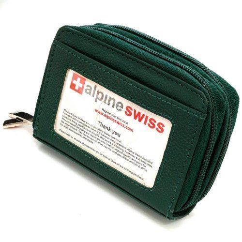 Alpine Swiss 2017瑞士十迷你信用卡綠卵色拉鍊管理夾包(預購)