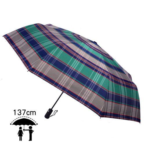 【2mm】超大!風潮條紋 超大傘面安全自動開收傘(藍綠)