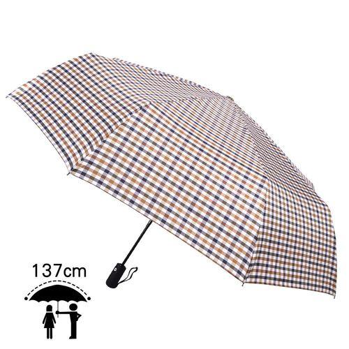 【2mm】超大!風潮條紋 超大傘面安全自動開收傘(白灰)