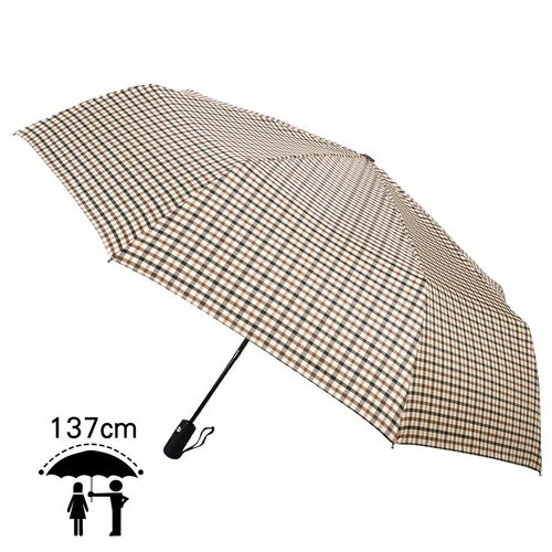 【2mm】超大!風潮條紋 超大傘面安全自動開收傘(卡其)