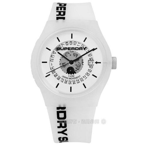Superdry 極度乾燥 / SYG168W / 復古潮流風日期矽膠手錶 白色 38mm