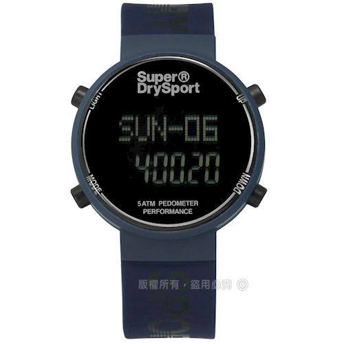 Superdry 極度乾燥 / SYG203U / 休閒時尚電子計步器卡路里矽膠手錶 深藍色 40mm